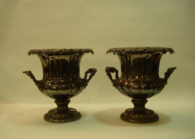 A pair of 19th Century Old Sheffield Plate two-handled wine coolers unmarked, circa 1840  (2)