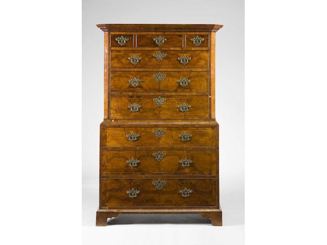 George I walnut chest on chest