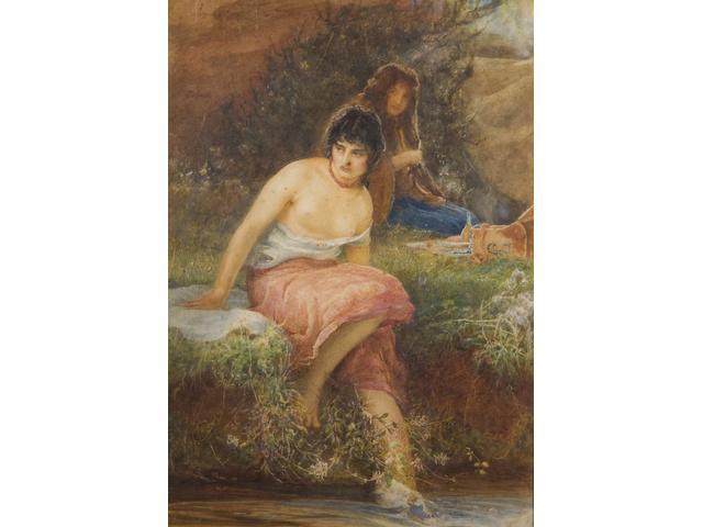 Robert Walker Macbeth (British, 1848-1910) The Gypsy's Sunday 55.5 x 39.5cm.