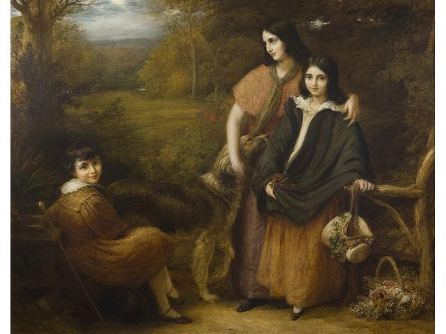 John Linnell (British, 1792-1882) Portrait of three elder children of Robert Clutterbuck
