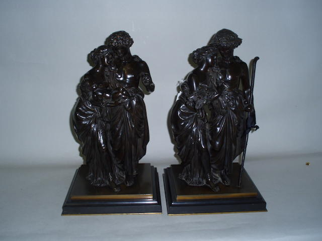 Pair of bronze figure groups signed Moreau