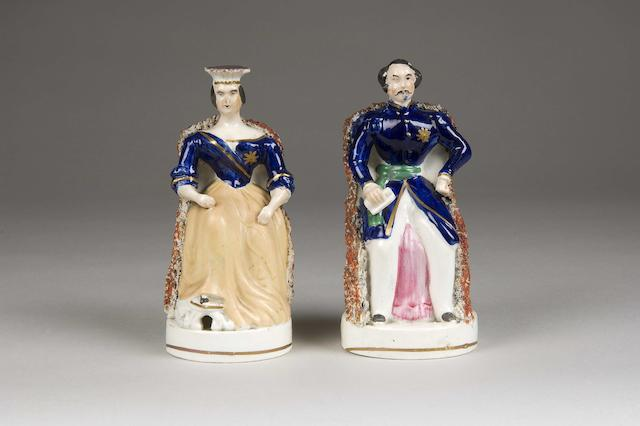 A mid 19th Century pair of Staffordshire Queen Victoria & Prince Albert figures circa 1850