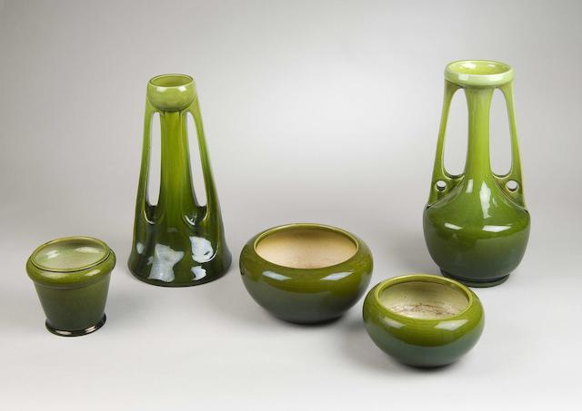 Bonhams A Bretby Pottery Green Glazed Stylised Bottle Vase Mid