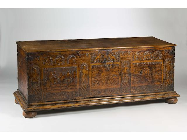 A good late 16th Century Venetian carved cedar cassone