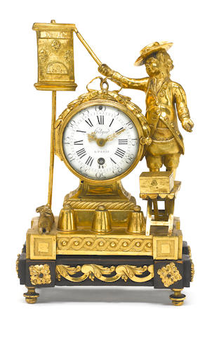 A good second half of the 18th century French ormolu figural mantel timepiece of small size Hilger a Paris