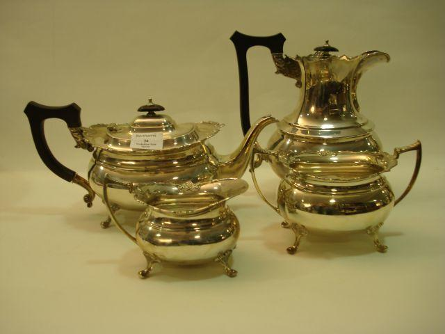 A George V four-piece tea service by Cooper Bros and Sons Limited, Sheffield 1919-1921
