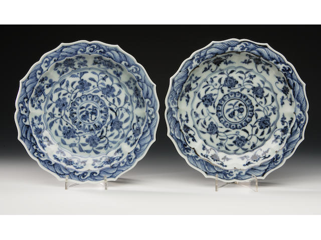 A pair of blue and white saucer dishes In a Ming style but probably later
