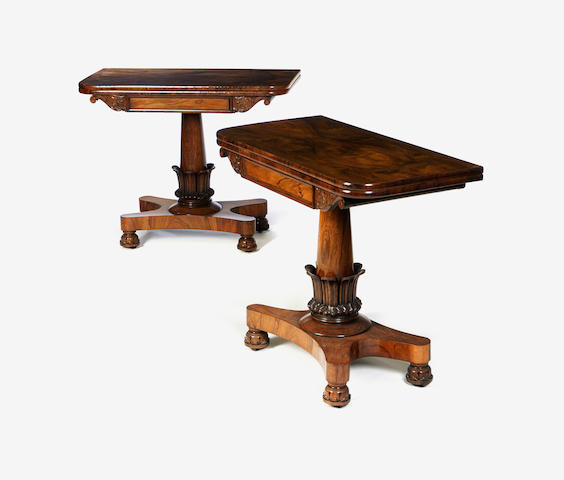 A pair of rosewood card tables c.1835