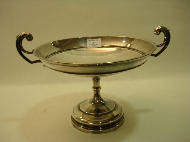 A George V two-handled pedestal dish by Walker and Hall, Sheffield 1927