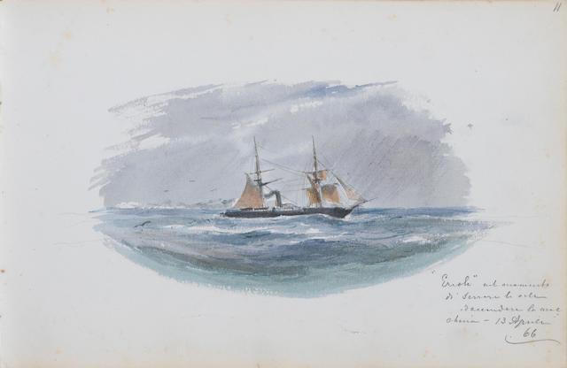 Edoardo de Martino (Italian, 1838-1912) The artist's sketchbook, recording the journey of the corvette Ercole through the Straits of Magellan 14 x 21.5 cm (5½ x 8½ in) (album size)