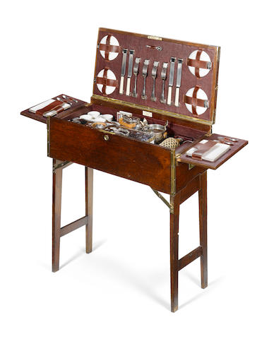 A superb Drew and Sons, wooden and brass edged games table picnic set,
