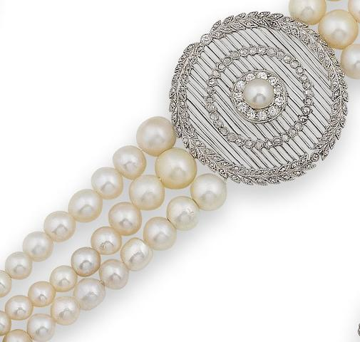 A belle époque pearl and diamond choker,