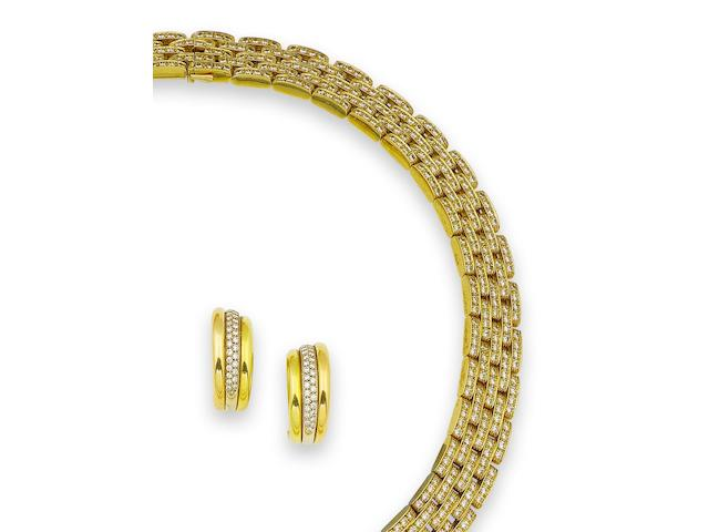 A gold and diamond necklace, bracelet and a pair of earrings, by Cartier