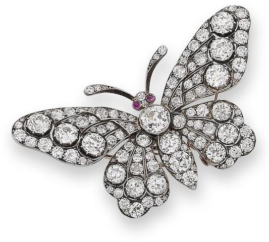 A late 19th century diamond and ruby butterfly brooch,