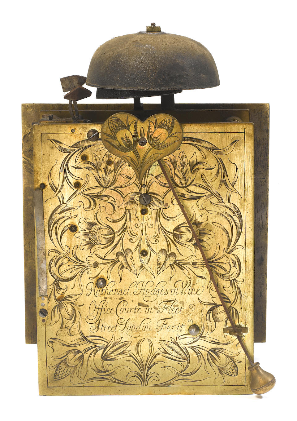 A fine late 17th century ebony veneered basket-topped quarter repeating bracket timepiece Nathaniel Hodges in Wine Office Courte in Fleet Street, Londini Fecit