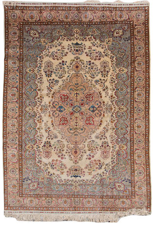 A Kayseri part silk carpet