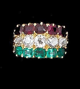 A late 19th century emerald, ruby and diamond ring