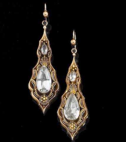 A pair of 19th century aquamarine pendent earrings,