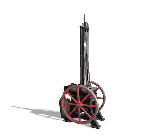 A full-size replica of the original Siegfried Marcus two-stroke gasoline engine of 1870,