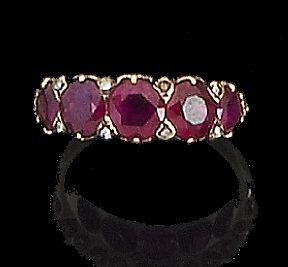 A ruby five-stone ring
