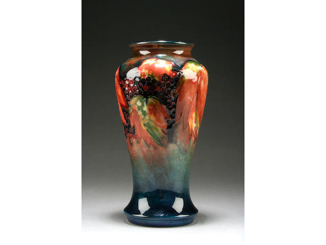A Moorcroft 'Leaf and berry' flambé vase  Circa 1935
