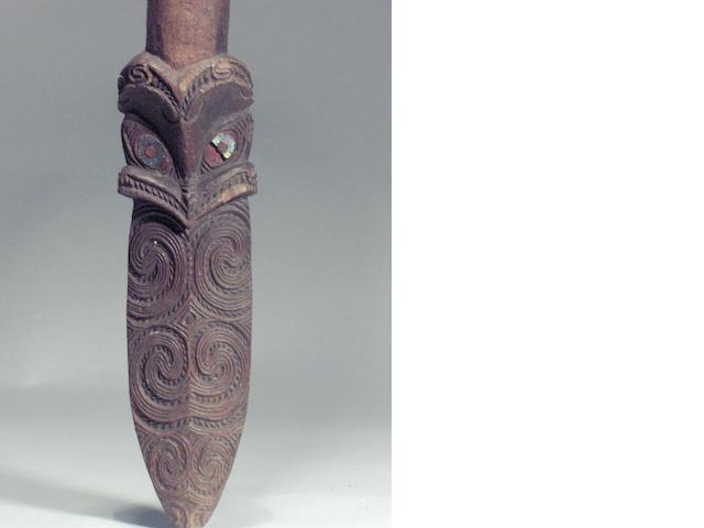 A Maori quarter staff, taiaha, New Zealand, 180cm long