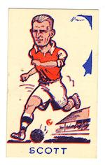 A collection in a blue album Sports Favourites, John Barr 'Big Heads' & 'Wee Heads', mostly footballers but inc. boxers, cricketers, athletes, golfers, speedway riders, etc., also proof set of cards produced by John Barr (16), Golden Series (2), S & B Products Torry Gillick's Internationals (15) and a Sports Favourites booklet, P-EX.