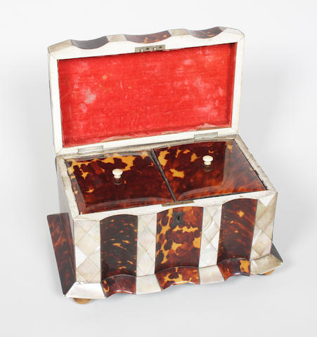 An early Victorian tortoiseshell and mother-of-pearl tea caddy