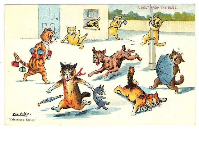 "Cats  A collection of Louis Wain cards, used and unused, in two ring bound albums inc. undivided backs, Valentine, Mack, Davidson, Hartmann Manx, Wrench, Beagles, Faulkner, Tuck ""Write Away"", Humorous, Mazawattee Tea, Davis, Salmon etc., F-EX."
