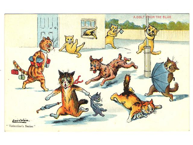 """Cats A collection of Louis Wain cards, used and unused, in two ring bound albums inc. undivided backs, Valentine, Mack, Davidson, Hartmann Manx, Wrench, Beagles, Faulkner, Tuck """"Write Away"""", Humorous, Mazawattee Tea, Davis, Salmon etc., F-EX."""