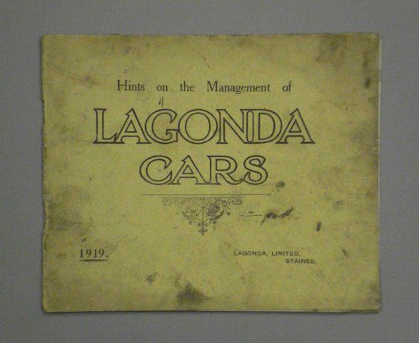 A Lagonda cars brochure, 1919,