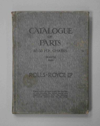 A Rolls-Royce 40-50 Catalogue of Parts, 1920,