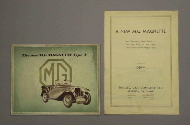 A sales brochure for the New MG Magnette Type 'N',