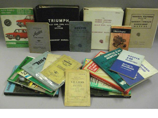 Various motor car technical literature,