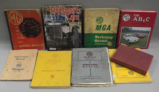 Nine books relating to MG cars,