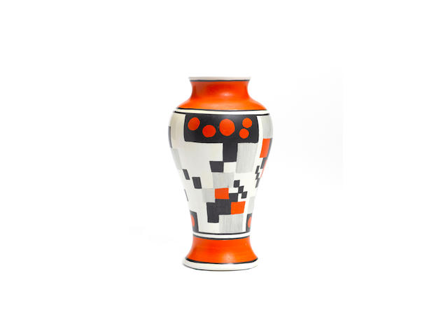Clarice Cliff  'Red Café' a rare small Meiping vase, circa 1930