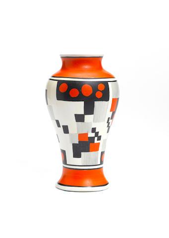 Clarice Cliff 'Red Café' a rare small Meiping vase, circa 1930