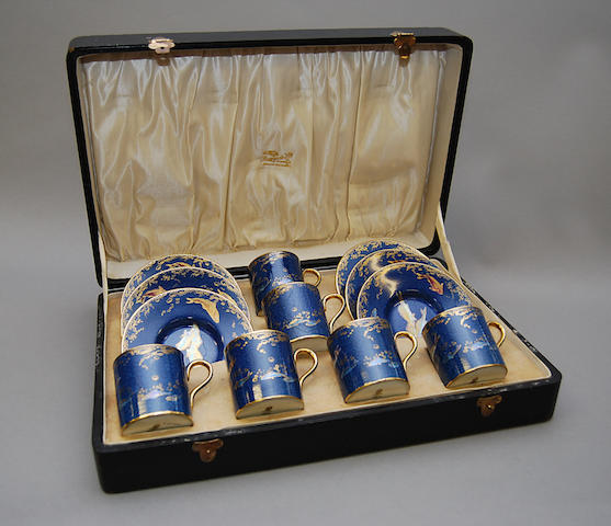 A cased Wedgwood blue ground coffee service,