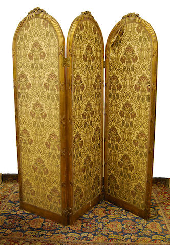 A gilt-wood three-fold dressing screen, 19th Century