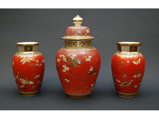 A garniture of three Japanese Satsuma vases