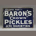 "A Baron's ""Crown"" Pickles enamel sign,"