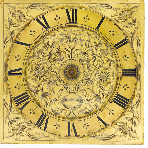 A very rare late 17th century thirty hour weight driven clock movement with 10 inch square brass dial Attributed to the Knibb workshop