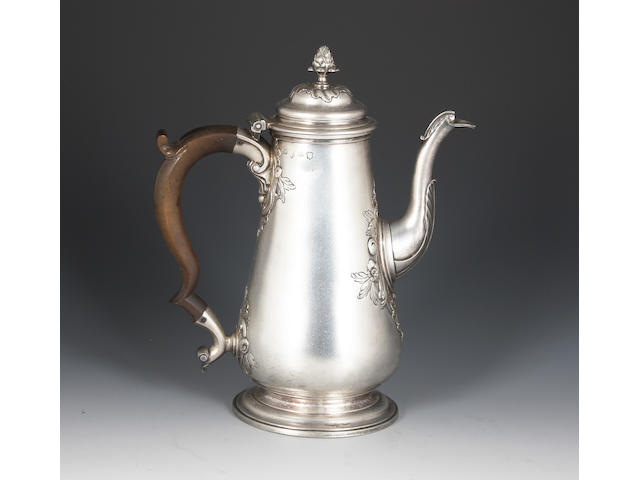 A George III silver coffee pot By Alexander Johnston, London, date letter indistinct, circa 1750,