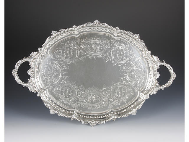 A late Victorian oval twin handled tray By Charles Boyton, London, 1898,