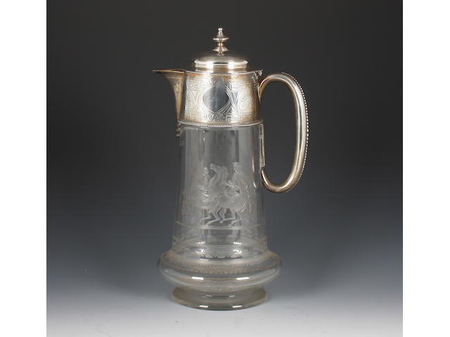 A Victorian silver and engraved glass claret jug By Martin and Hall, Sheffield, 1875,