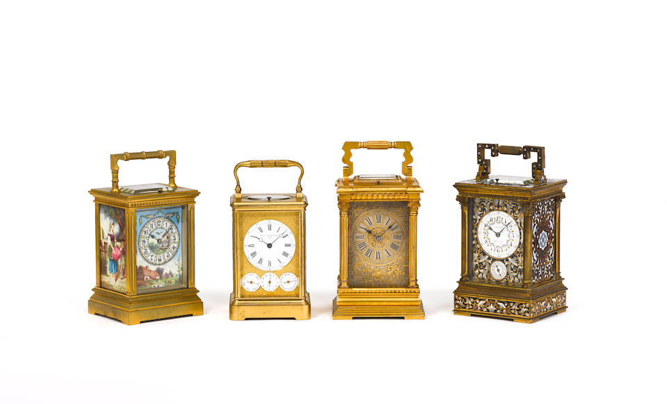 A late 19th century French porcelain panelled repeating carriage clock The movement stamped with the GL oval trademark