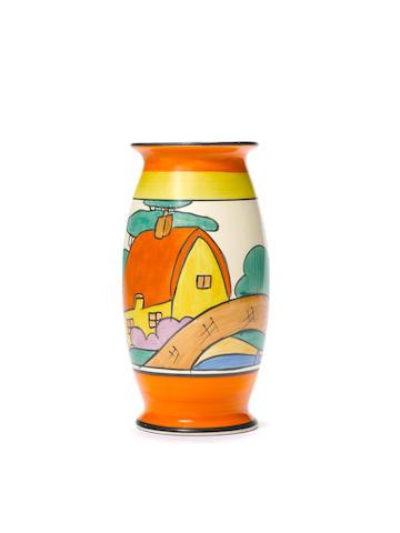 Clarice Cliff 'Orange Roof Cottage' a vase (shape 264), circa 1930