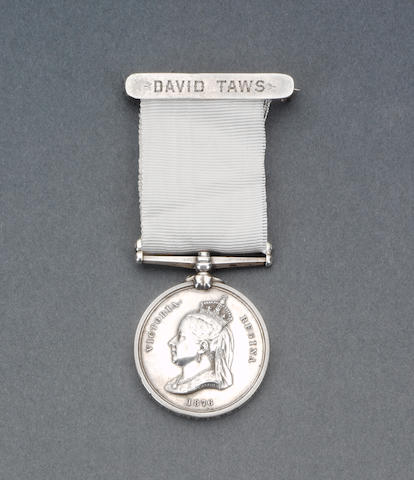 The Arctic Medal awarded to David Taws who served aboard H.M.S. Discovery in the 1875-76 Expedition,