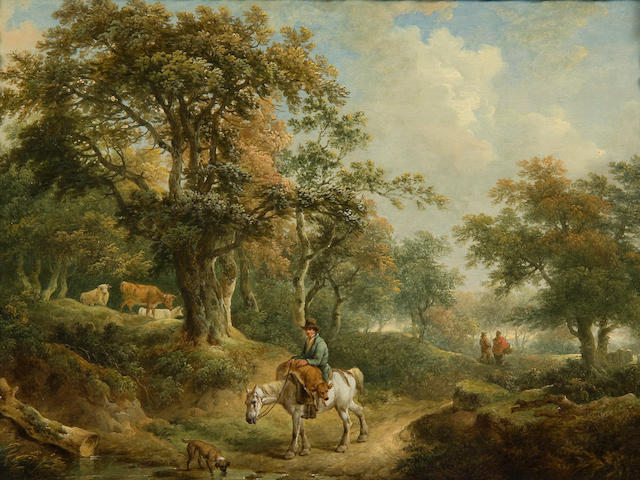 Charles Towne (British, 1763-1840) A wooded landscape with a man on horseback carrying a calf to market, and travellers and cattle nearby