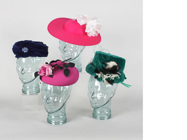 A large collection of 20th century hats, to include a blue velvet Christian Dior turban